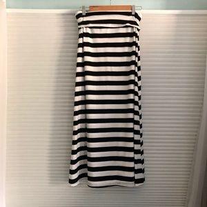 Ultra Flirt Black and White Striped Maxi Skirt